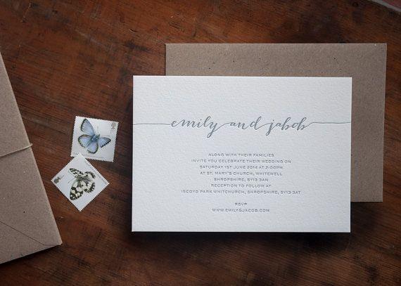 Letterpress Wedding Invitation by PRINTforLOVEofWOOD on Etsy