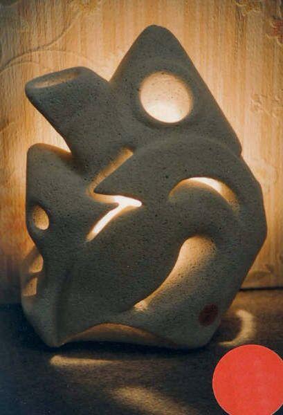 """Riblet Thierry - """"Maison"""" - Sculpture lampe Béton cellulaire"""