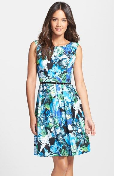 Free shipping and returns on Ellen Tracy Rose Print Twill Fit & Flare Dress at Nordstrom.com. A vibrant floral print brightens a sleeveless fit-and-flare dress crafted from sleek twill fabric. A slender patent belt trims the waist at your narrowest, most flattering point.