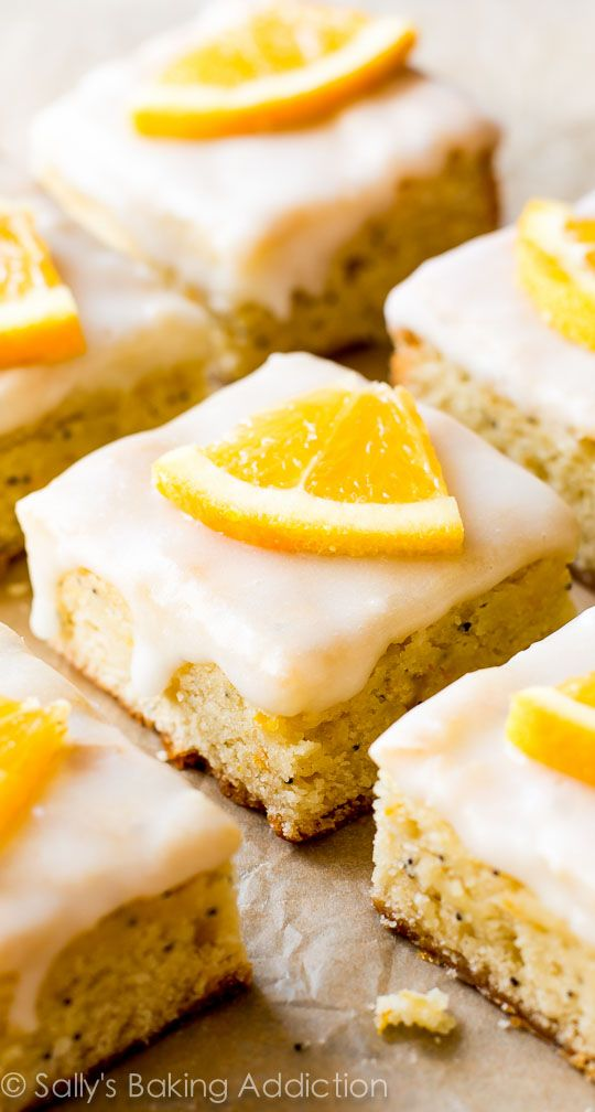 Glazed Orange Poppy Seed Bars - These will leave everyone BEGGING for the recipe! They are so, so simple too.