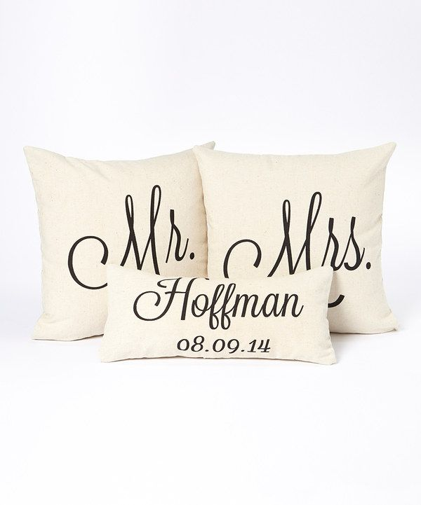 Look at this Black Type Personalized Name & Date Pillow Cover Set on #zulily   Would be cute on master bed