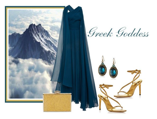 """Greek Goddess"" by sjlew ❤ liked on Polyvore featuring Elie Saab, 1928, Oscar de la Renta and Judith Leiber"