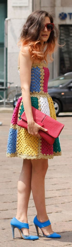 Summer street style inspiration: Megawatt color inspires major inspiration — especially on a sweet, crochet strapless.