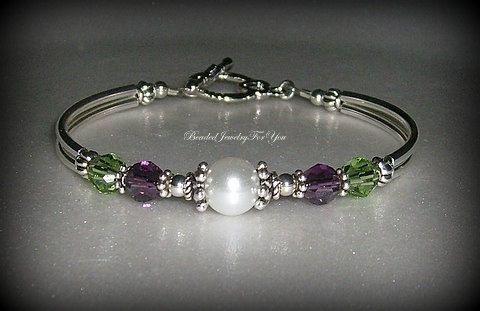Bridesmaid Bracelet  Amethyst and Peridot by beadedjewelryforyou
