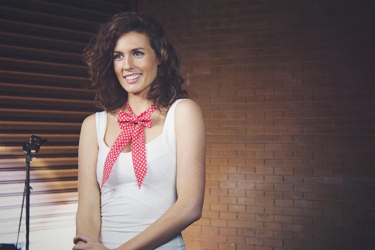 Emily Macfarlane wears Red Polka Dot Sailor Tie www.bties.com.au