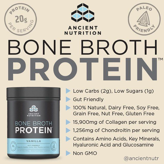 "BONE BROTH Protein Powder? Ancient Nutrition brings one of the most unique supplements ever, with collagen protein made from chicken bone broth: https://blog.priceplow.com/supplement-news/ancient-nutrition-bone-broth-protein Now realize that collagen protein does NOT have a high-BCAA, ""anabolic"" amino acid profile like whey or pea. But the theory is that collagen from bone broth is great for joints and connective tissues. It comes in chocolate, vanilla, turmeric, and pure flavors. #BoneBroth"