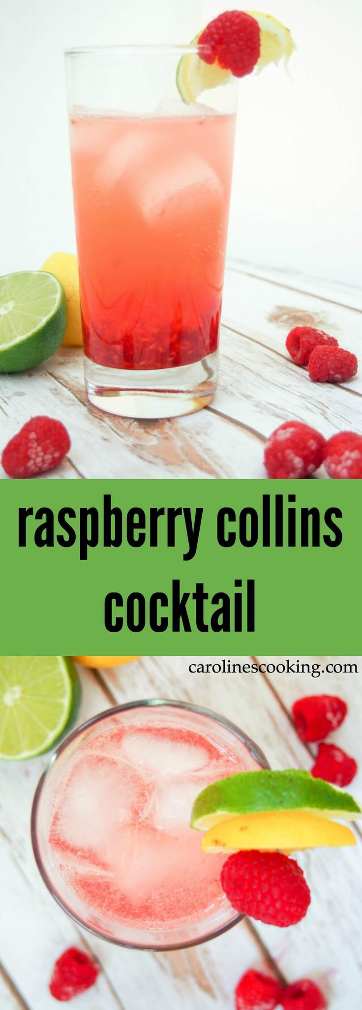 raspberry collins cocktail - a simple combination of gin, raspberries, lemon and soda that's refreshing and fruity. Perfect for summer.