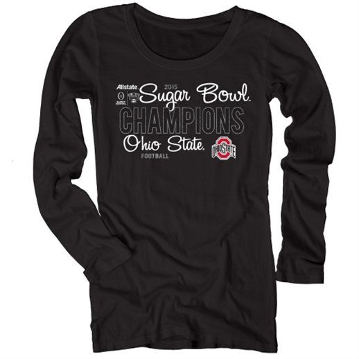 Ohio State Buckeyes Women's Black 2015 Sugar Bowl Champions Long Sleeve T-Shirt