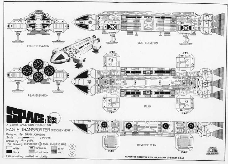 "spaceintruderdetector: ""  Eagle space craft blueprints. Space 1999 - 1975 """