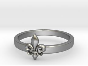 Fleur de lis ring 6 US size (16.5 mm) in Raw Silver
