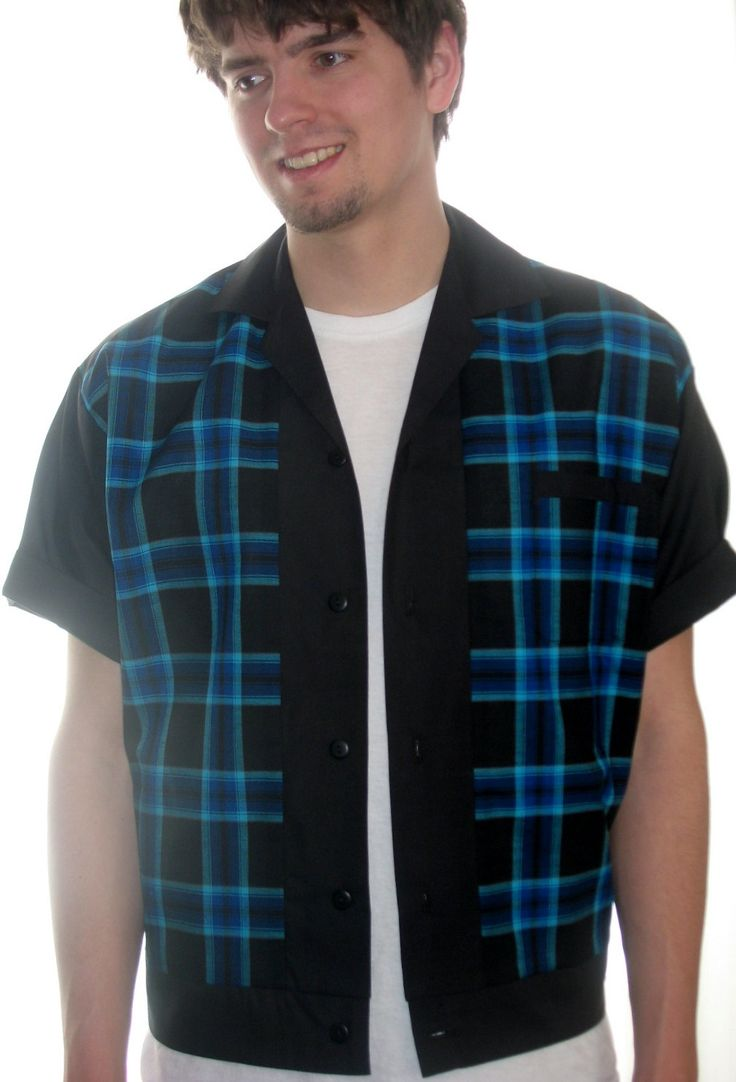 Men's Rockabilly Shirt Jac Blue & Black Plaid by LennyShirts on Etsy https://www.etsy.com/listing/223628048/mens-rockabilly-shirt-jac-blue-black