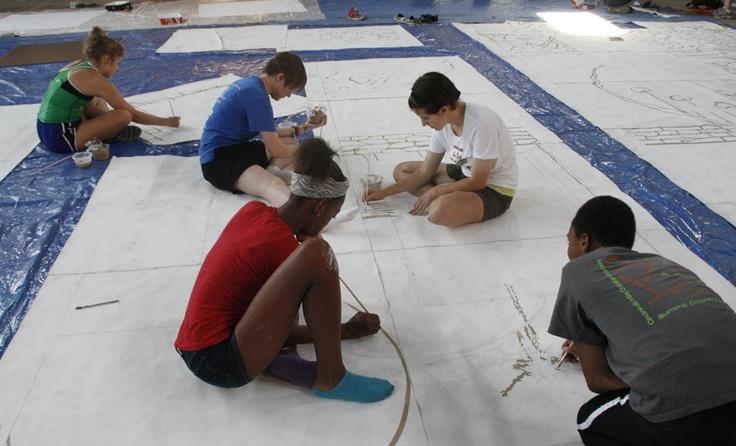 #Students of ArtWorks #Cincinnati summer project working on Mt. Adams mural
