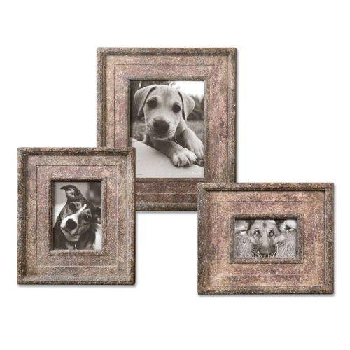 Zana Aged Ivory and Deep Red Photo Frames, Set Of Three