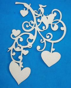 A2Z Scraplets - Chipboard shapes - Hanging Hearts