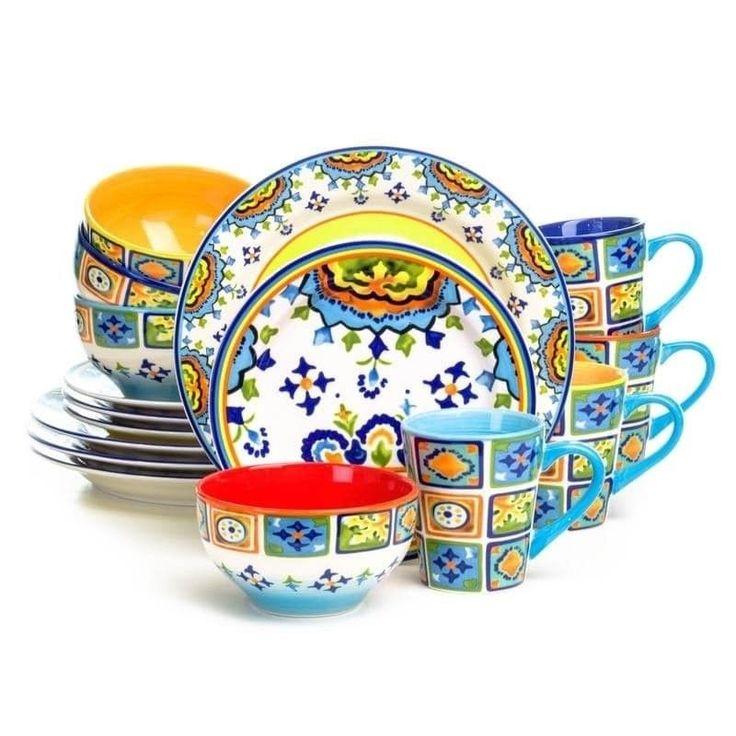 Euro Ceramica Mumbai 16 Piece Dinnerware Set Bright Festive Colors  Earthenware #EuroCeramica #ModernContemporary #FullSet