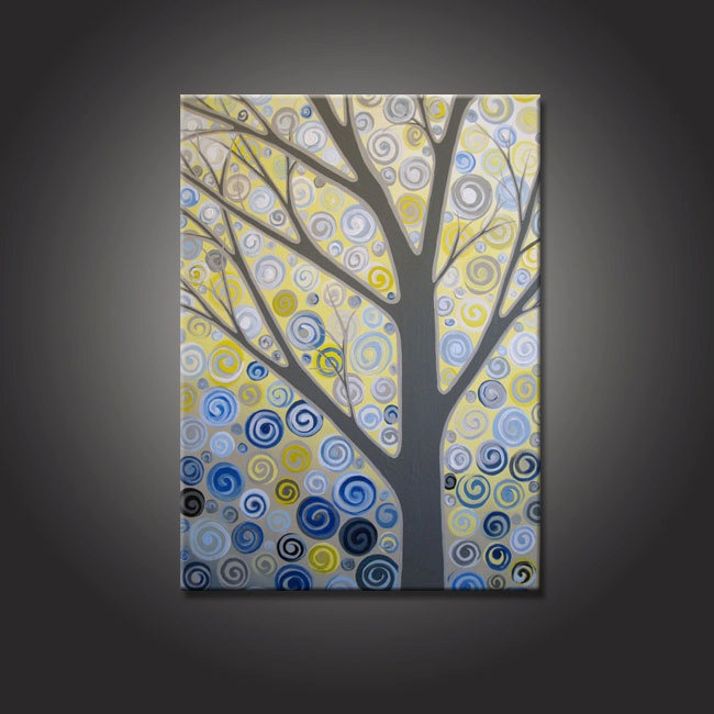 Yellow Grey And Blue Abstract Tree Wall Art Extra Large 24x36