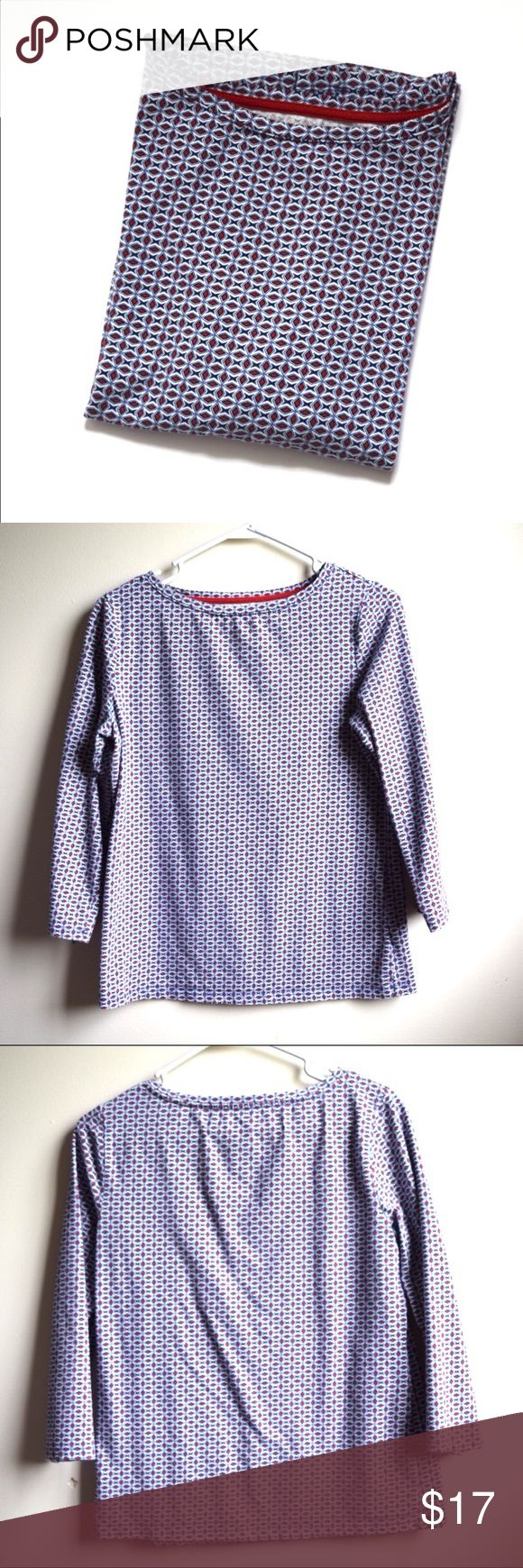 Talbots 3/4 Sleeve Tee Red, White, & Blue Pattern This geometric patterned tee would look nice with a white denim vest! It has 3/4 length sleeves and the pattern is in red, white, and blue. Feel free to make an offer! Talbots Tops Tees - Long Sleeve