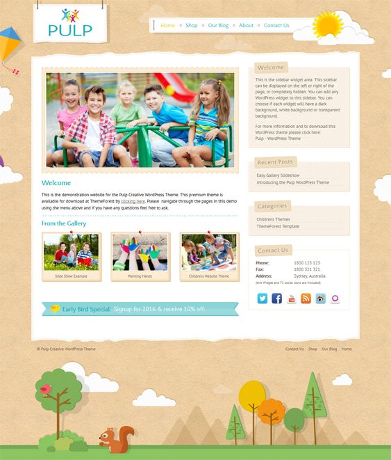 This WordPress theme for kids has a responsive design, an image slider, WooCommerce integration, Google Fonts, animated elements, a Google Maps shortcodes, shortcodes and widgets for social media icons, a sidebar manager, and more.