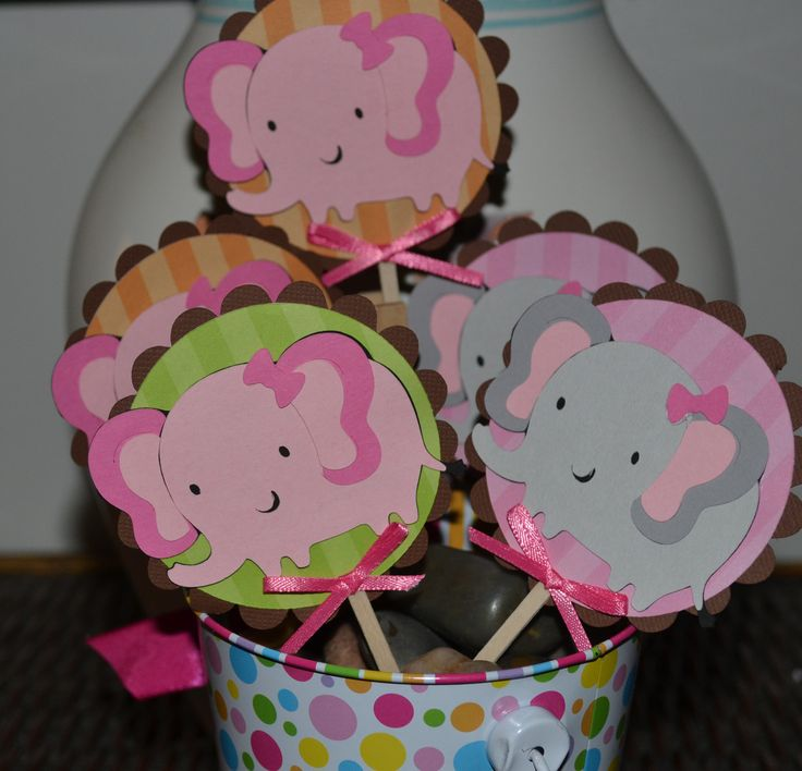 Girl Pink and Gray Elephant / Elephants Themed CupCake Toppers (Set of 12)