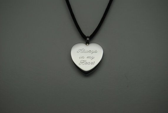 Always in my heart cremation urn necklace engravable for Father daughter cremation jewelry