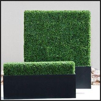 Artificial Hedges - Outdoor Faux Boxwood Hedges in black planters - http://www.hooksandlattice.com/outdoor-artificial-hedges.html