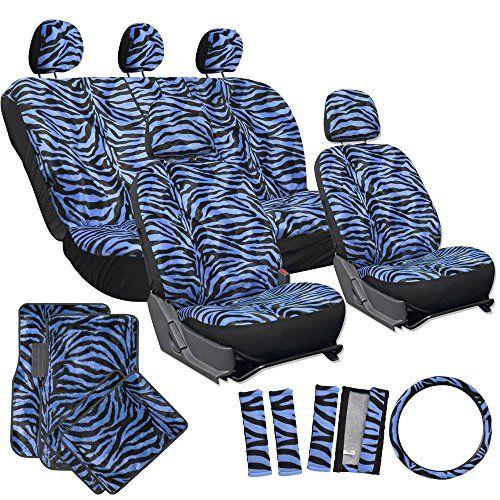 OxGord 21pc Set Of Zebra Print Car Seat Covers W Deluxe V