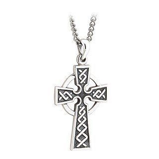 """Irish Made Mens Small (1"""") Silver Double Sided Celtic Cross Solvar. $80.00. Double sided simply elegant mens sterling silver Celtic Cross measuring approximately 5/8"""" wide (1.6 cm) and 1"""" tall (2.5 cm). Made in Ireland stamped at Dublin Castle shipping from US in a Gift Box.. The celtic knots on the cross signify no end or beginning or neverending love.. The Celtic Cross meaning symbolized the evolution of Christianity from the sun being the center of the univ..."""