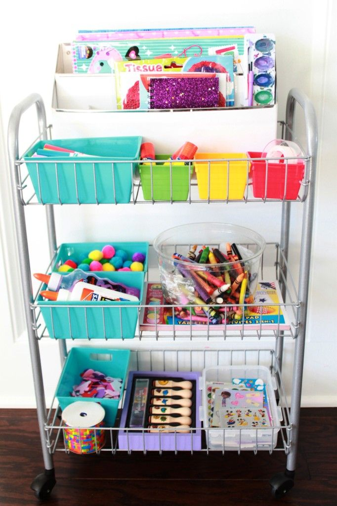 Make kid's art supplies accessible and mobile by keeping them in a rolling cart