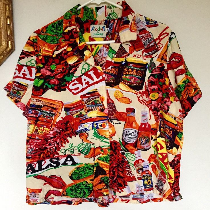 Vintage 1990s Food Art by Jam's World Salsa Mexican Food Print Funky Trippy Men's Top Sz XL by cosmicnebulavintage on Etsy https://www.etsy.com/listing/485821253/vintage-1990s-food-art-by-jams-world