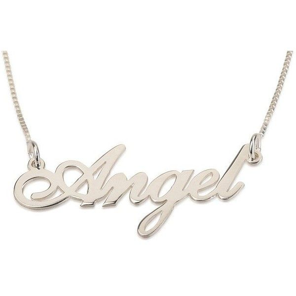 Silver Name Necklace in English (Angel Script) ($32) ❤ liked on Polyvore featuring jewelry, necklaces, silver jewellery, silver jewelry and silver necklace