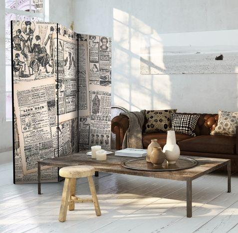 Biombo Vintage Periódicos - es perfecto para todos los amantes de este fascinante estilo de decoración de interiores. Recuerda que con un biombo puedes dividir espacio grande, guardar cosas detras de el o usarlo como protección contra el sol poniéndolo en la ventana ☼