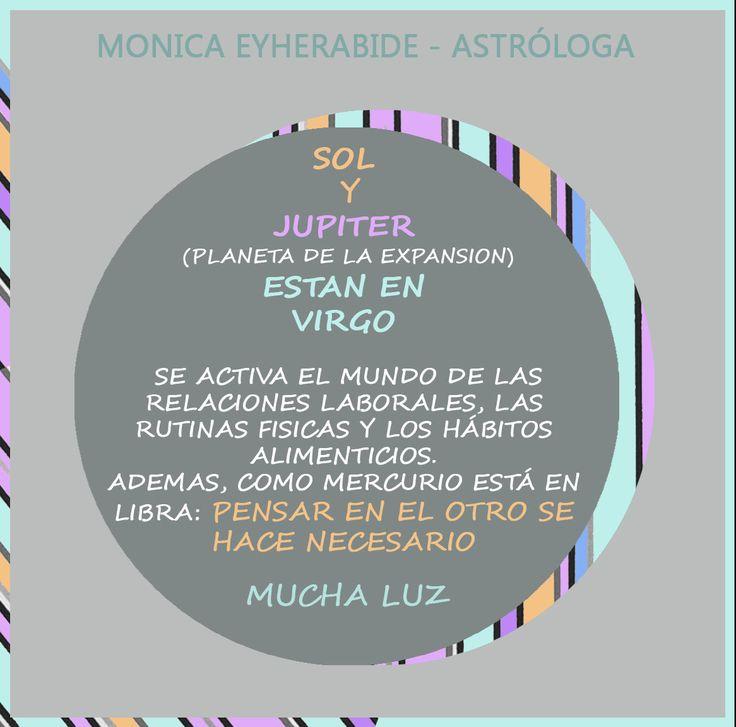 Sol y Jupiter en Virgo!  #astrologia #sol #jupiter #virgo #expansion #Astrology #monicaeyherabide