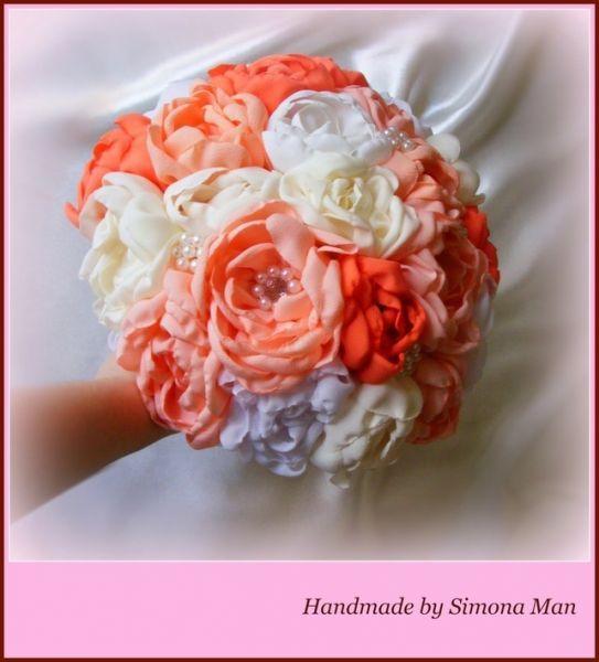 Buchet de mireasa cu flori artificiale handmade