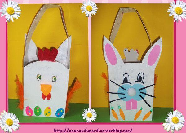 panier de Pâques réalisé avec une boîte de purée,  un côté lapin et de l'autre une poule, explications sur mon blog