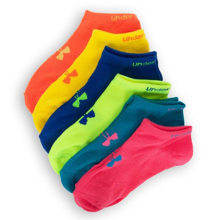 Under Armour® HeatGear® No Show Neon Training Socks 6-Pack.  My favorite socks!