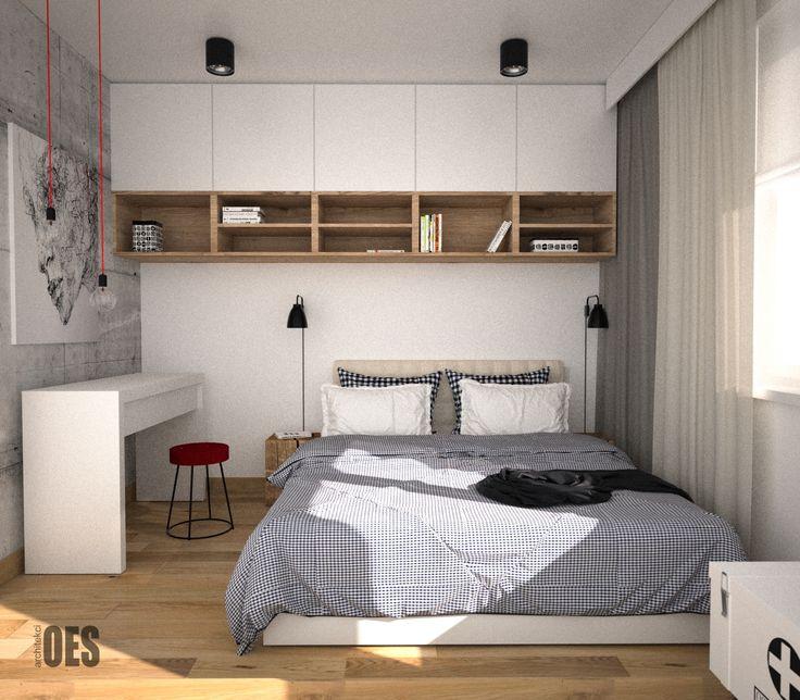 #drewnowsypialni  biała toaletka w sypialni, zabudowa w sypialni, drewniany pień, beton na ścianie