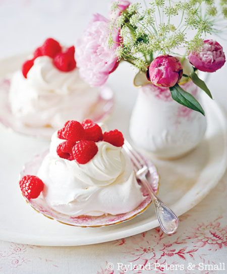 Meringue Nests: crisp on the outside and chewy in the middle. Top w/ fruit and whipped cream.