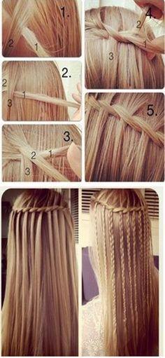 mini braid and waterfall hairstyle tutorial