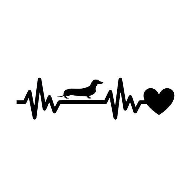 Dachshund Heartbeat Lifeline Decal