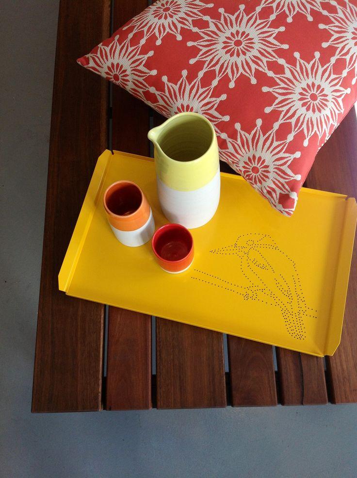 Sunshine colours I Mokum 'firewheel' fabric cushion I Cone 11 ceramics  I Tait Icon tray 'Kookaburra' I Linear outdoor bench I Made by Tait