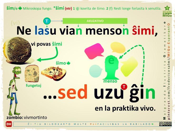 Uzu Esperanton en la praktika vivo. #migo #esperanto #gramatiko #lasi #permesi #uzi #ŝimi #fungo #praktika #vivo #sed #akuzativo #netransitiva #gravajverboj