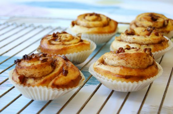 Cinnamon buns with pecans.  Wonderful smell of cinnamon in the kitchen!