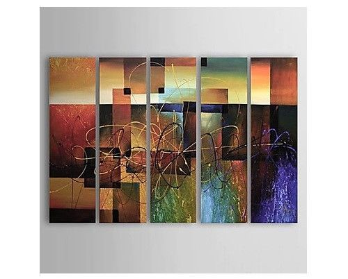Canvas Oil Painting Set of 5 Modern Abstract Hand-Painted Hang Wall Decoration
