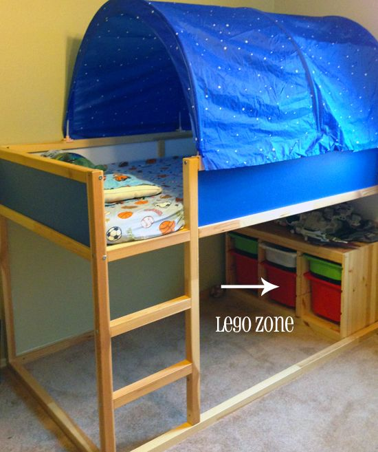 IKEA loft bed with tent. Trofast storage bins are great for LEGOs. Have a rule that LEGOs stay under bed to save your feet!