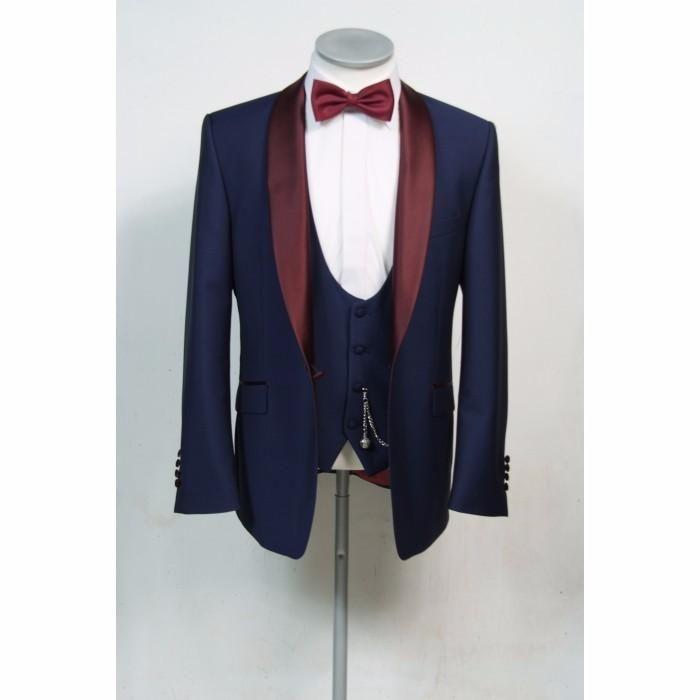 Men Navy Blue Suit Burgundy Shawl Lapel Groom Tuxedo Wedding Suit Blazer Custom