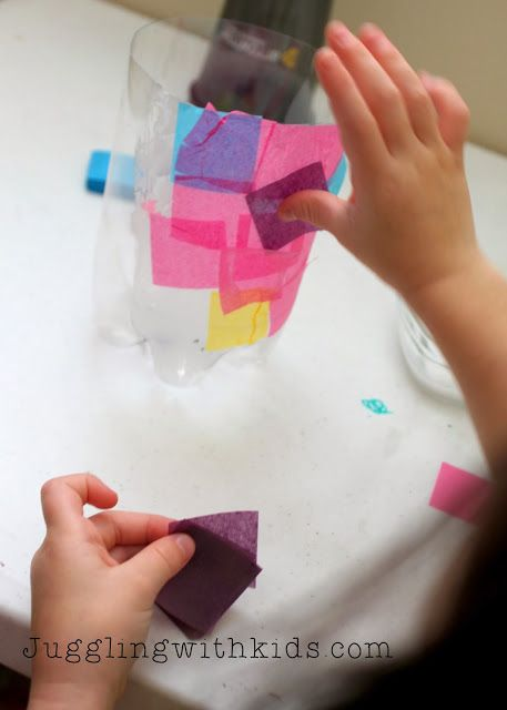Could use a pop bottle with tissue paper for lantern. Could mimic some of the cool glass ones without the risk of falling and breaking - especially if hanging.