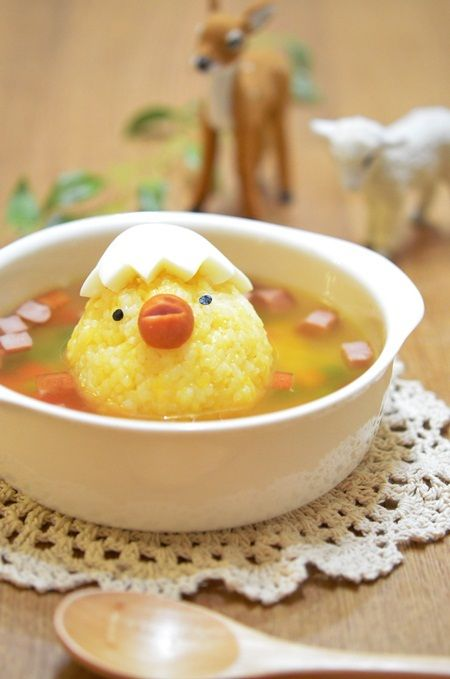 Kids Meal Idea: Chick Charactered Rice Ball in Curry Vegetable Soup ♥ Bento