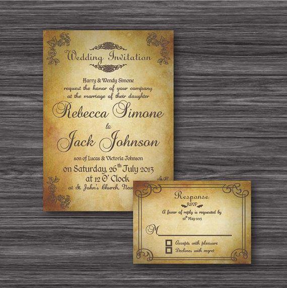 Baroque Vintage wedding invitation printable by MySweetCasa, $25.00
