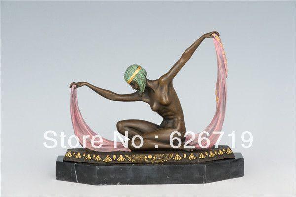 Бесплатная доставка Западной статуя ан бронзы Танцор Ню Секси Леди Бронзовая Скульптура Статуя Танцы czs-132B