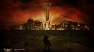 Preview wallpaper fallout, city, light, character, sky 1920x1080